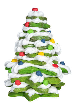 New year tree shaped gingerbread close up. Candy and sweets