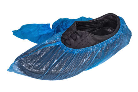 Shoe covers on white background. Medical protection and hygiene products 免版税图像