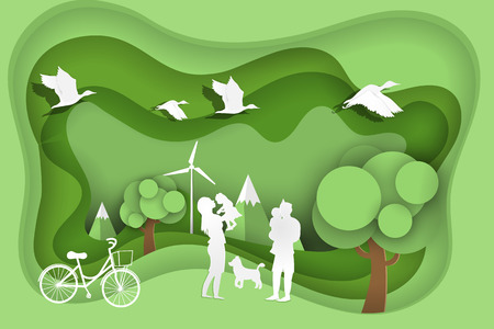 Happy family on green park with eco and world environment day,Save world Save ecology conservation concept,Paper art style.