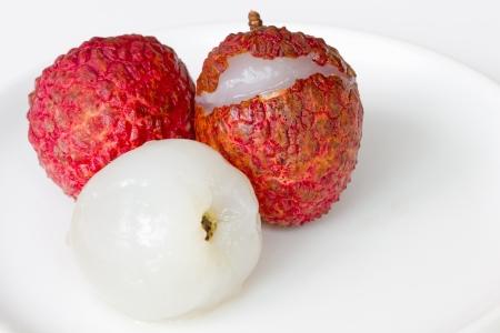 lichi: Fresh lechee on the white dish