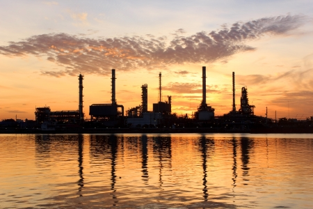 crude oil: Sunrise, oil refinery factory with refection in Bangkok, Thailand
