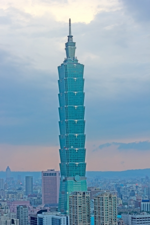 TAIPEI, TAIWAN - August 11  The top floors of Taipei 101 with a twillight sky on August 11, 2012 in Taipei, Taiwan  Taipei 101 was the world