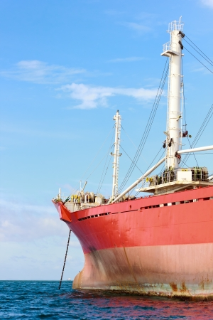 Bow of an anchored vessel photo