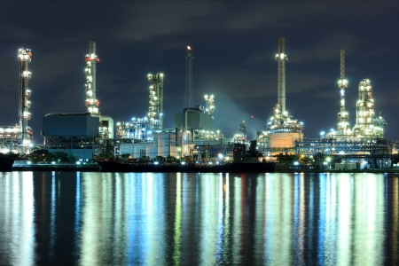 Refinery plant area after twilight  photo