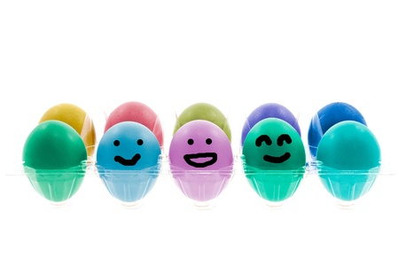 malice: Colorful Easter eggs with different smile on their faces  Stock Photo