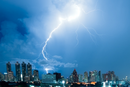electric storm: Real lightning bolt strike in a city