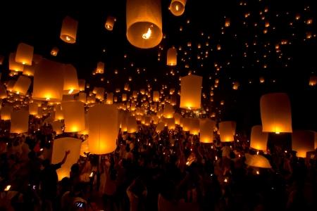 lantern festival: Yi Peng,Firework Festival in Chiangmai Thailand Editorial