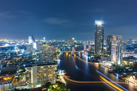 City town at night in Bangkok, Thailand  Stock Photo - 16835469