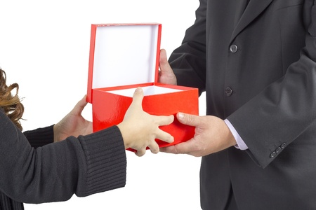 Man giving box to women, isolated on white photo