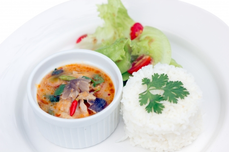 favorite soup: Brown Spotted Groupe Tom Yam  Thai cuisine , fish Stock Photo