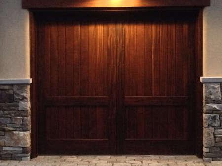 garage door: Wood garage door