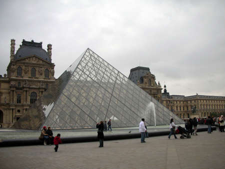 louvre pyramid: Close up of the Louvre pyramid