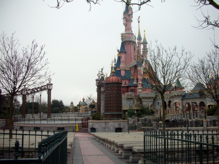 Side view of Snow White Castle during winter