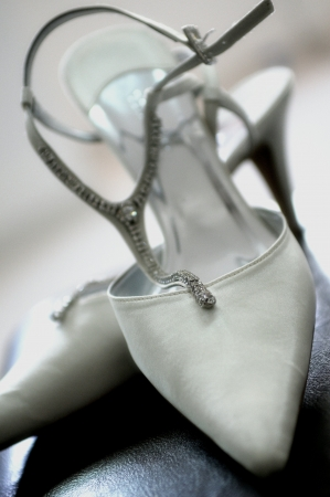 White Wedding shoes Stock Photo