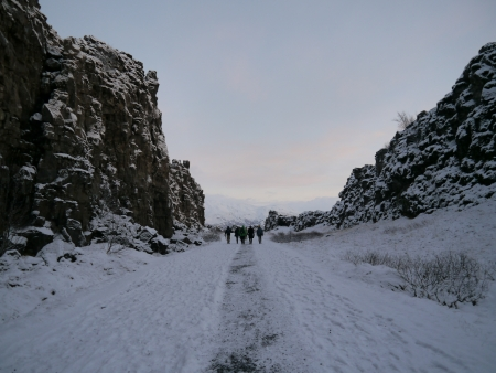Walking path at Iceland filled with snow