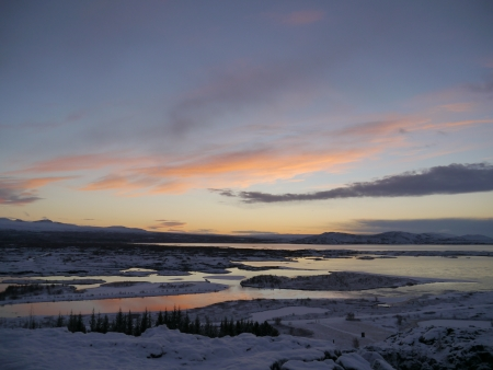 Sunset view at Iceland National Park