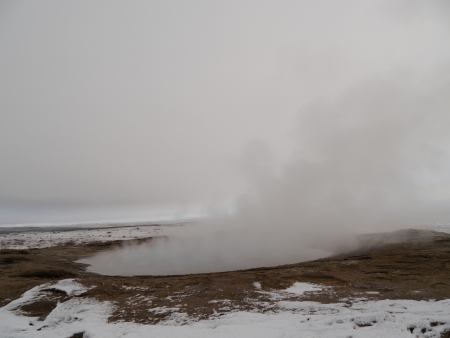 Geyser at Iceland during winter time Stock Photo