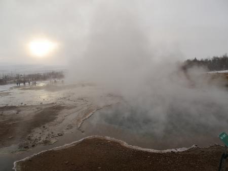 Volcano Steam at Geyser, Iceland Stock Photo
