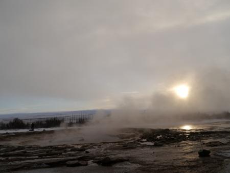 Smoke from Volcano eruption, Geysir, Iceland