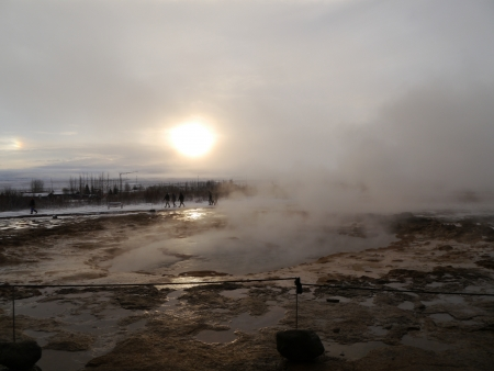 Steam from Volcano during sunset Iceland