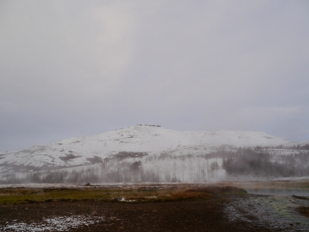 Mountain filled with snow at Iceland Stock Photo