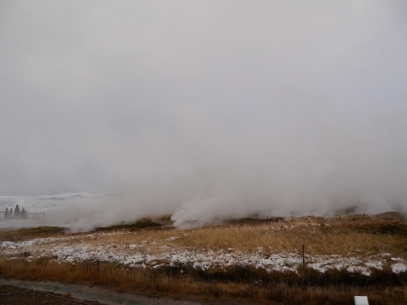 Steam from Volcano at Geysir Iceland