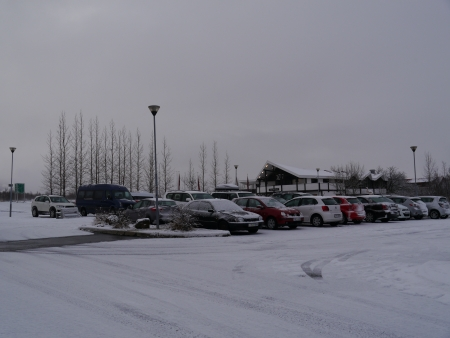 Cars parking filled with snow at Iceland