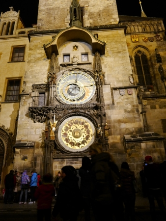 Astronomical Clock at night in old town Prague, Czech Republic Editorial