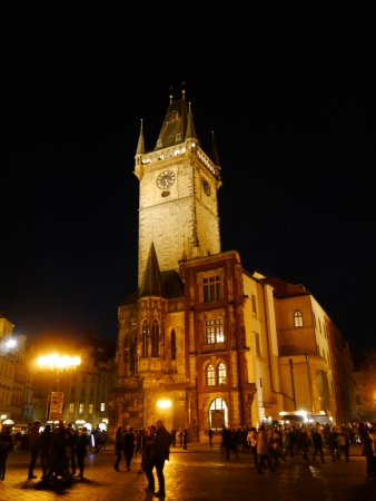 Nightshot of Prague Town Hall  Rathaus  in Czech Republic