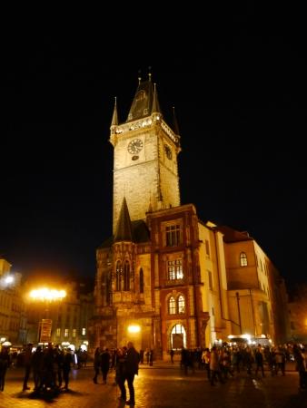 rathaus: Nightshot of Prague Town Hall  Rathaus  in Czech Republic