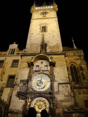 Frot View Astronomical Clock at night in old town Prague, Czech Republic