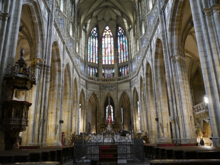 Interior of St  Vitus Cathedral in Prague, Czech Republic