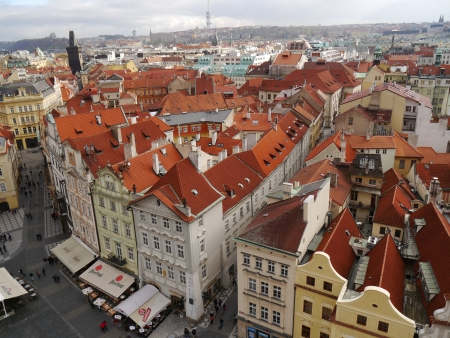 Houses with traditional red roofs in Prague Old Town Square in the Czech Republic Stock Photo