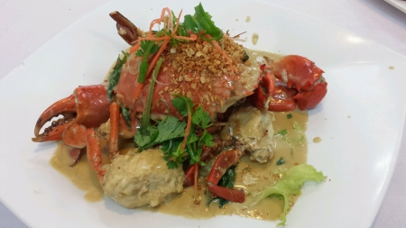 Butter milk cooked crab