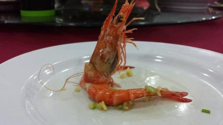 Standing shrimp on plate
