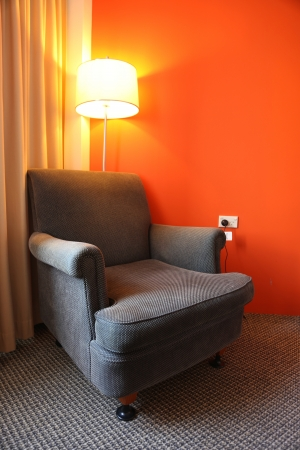 Arm Chair in hotel room Stock Photo