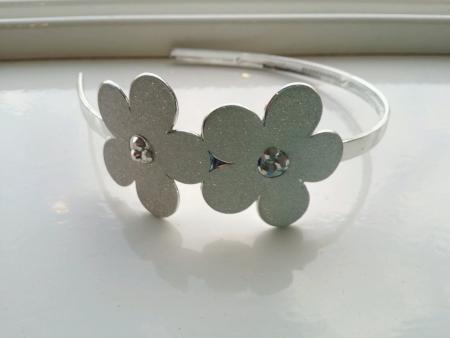 hairband: Silver flowers cute hairband accessory  Stock Photo