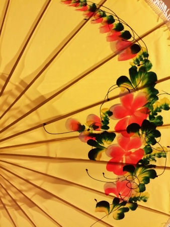 uniquely: Uniquely asian fan with floral pattern isolated.