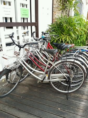 beside: Rows of bicycles for rent beside malacca river bank