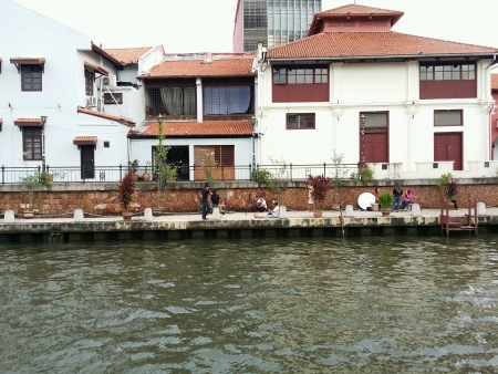 beside: Heritage building beside malacca river bank