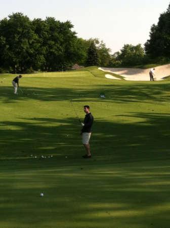 골프 코스 연습 범위 스톡 콘텐츠