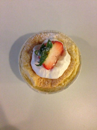 Top view of Hokkaido cupcake with strawberry topping