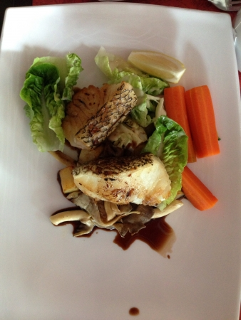 Top view of grilled cod fish with vegetables served on plate