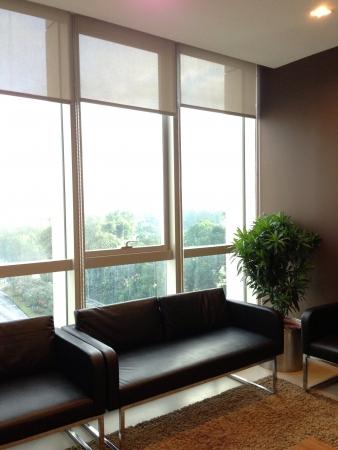 Elegant furnished waiting area with beautiful scenery