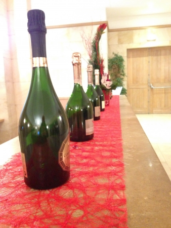 Rows of champagne bottles displayed at G.H Mum Europe