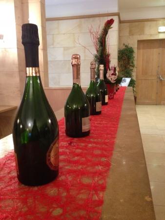 Variety of G.H Mumm Champagne bottles displayed  Stock Photo