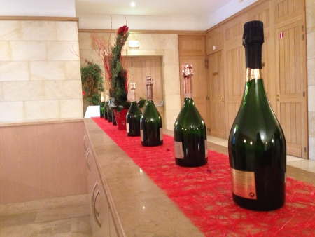 Rows of beautiful champagne GH Mumm at their factory entrance 2013