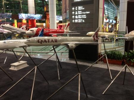 Qatar plane model display at KLIA International Departure Stock Photo