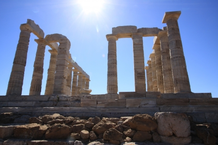 The Temple of Poseidon at Sounion Greece Stock Photo