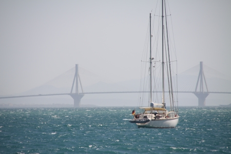 Sailing boat at Corinth Gulf Strait, Greece